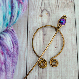 Purple Penannular Shawl Pin in Vintage Bronze-Shawl Pin-Crafty Flutterby Creations