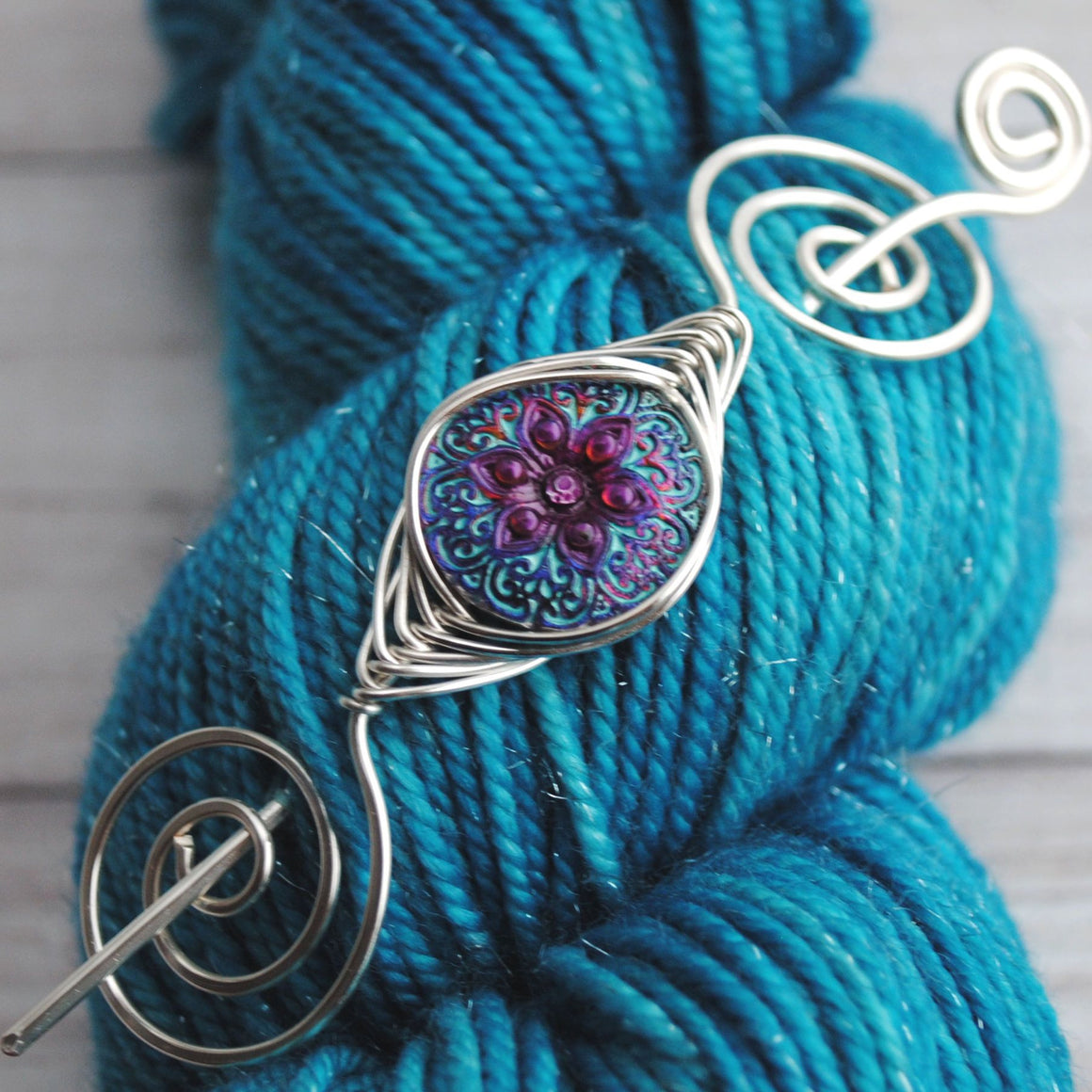 Shawl Pin, Purple Starflower Shawl Pin- Noteworthy Czech Glass - Limited Edition - Crafty Flutterby Creations