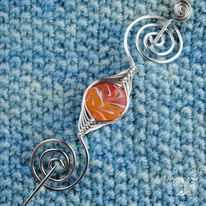 Shawl Pin, Red and Orange Lampwork Glass Shawl Pin - Large Silver - Crafty Flutterby Creations