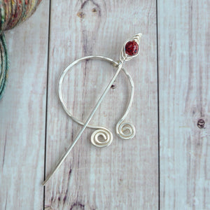 Red Penannular Shawl Pin in Silver-Shawl Pin-Crafty Flutterby Creations
