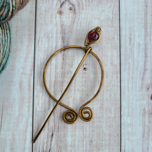 Red Penannular Shawl Pin in Vintage Bronze-Shawl Pin-Crafty Flutterby Creations