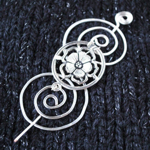 Sassenach English Rose Shawl Pin - Charmed Silver-Shawl Pin-Crafty Flutterby Creations