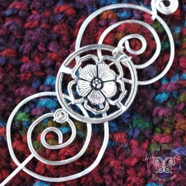 Shawl Pin, Sassenach English Rose Shawl Pin - Charmed Silver - Crafty Flutterby Creations