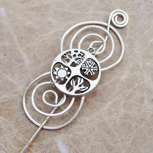 Shawl Pin, Seasons Shawl Pin - Charmed Silver - Crafty Flutterby Creations