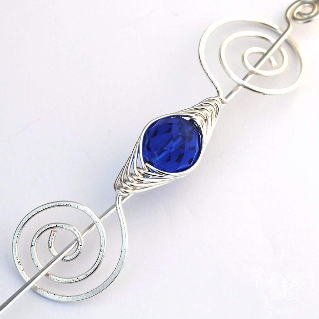 Shawl Pin, September Sapphire Blue Shawl Pin - Noteworthy Birthstone Silver - Crafty Flutterby Creations
