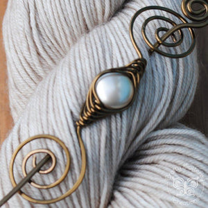 Shawl Pin, Shimmer Shawl Pin - Bronze Noteworthy Classic - Crafty Flutterby Creations