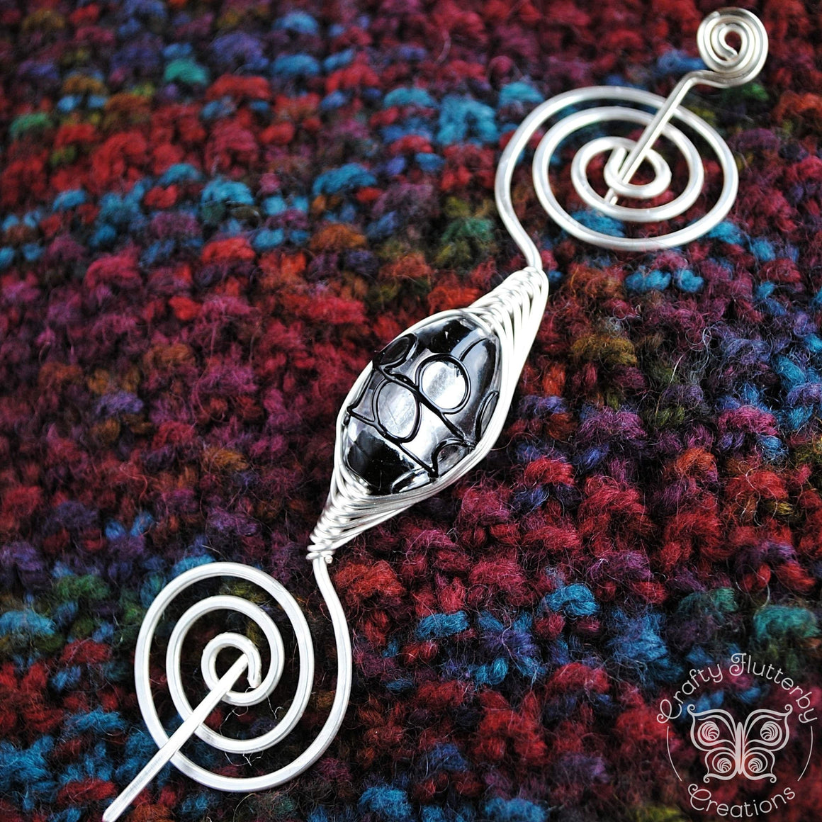 Shawl Pin, Silver and Black Lampwork Glass Shawl Pin - Large Silver - Crafty Flutterby Creations