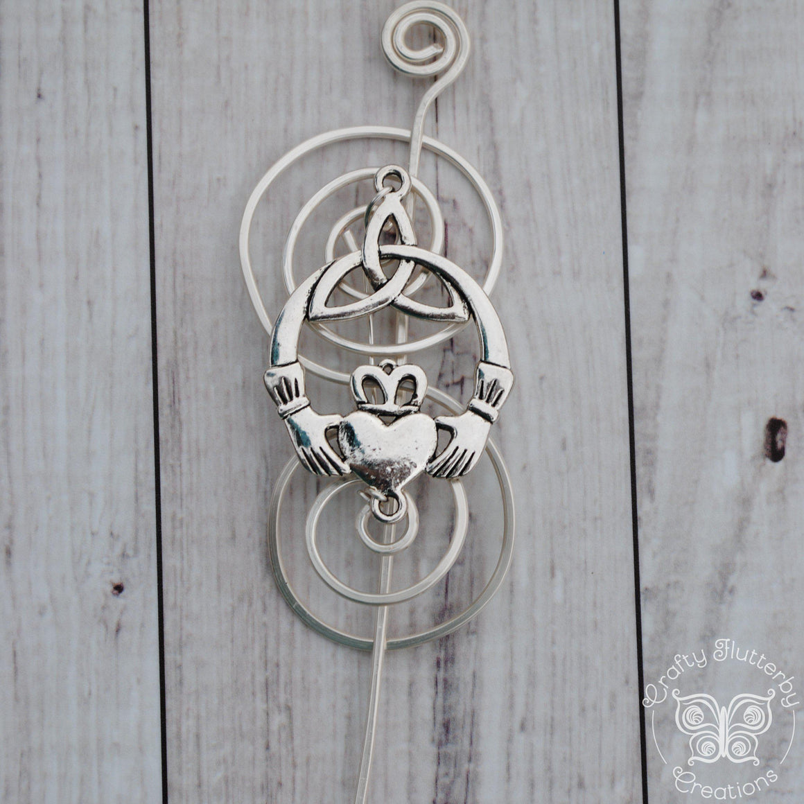Shawl Pin, Silver Claddagh - Charmed Pin - Crafty Flutterby Creations