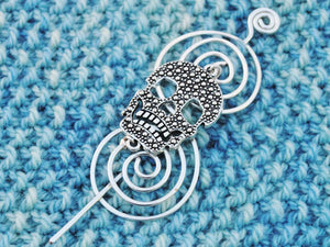 Shawl Pin, Skull Shawl Pin - Charmed Silver Fandoms - Crafty Flutterby Creations
