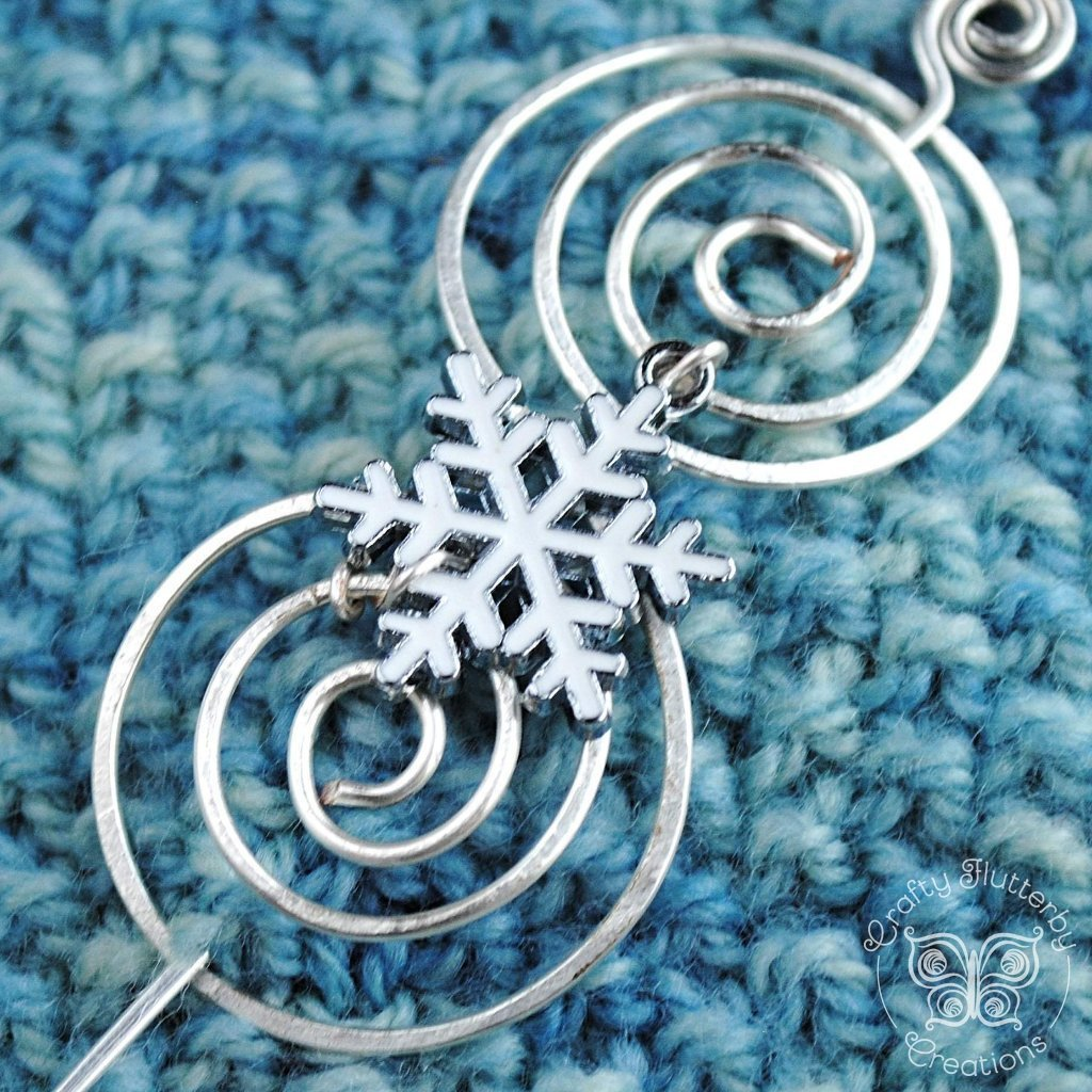 Shawl Pin, Snow Shawl Pin - Silver Charmed - Crafty Flutterby Creations