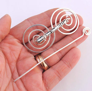 Sonic Screwdriver Shawl Pin - Charmed Silver Fandoms-Shawl Pin-Crafty Flutterby Creations