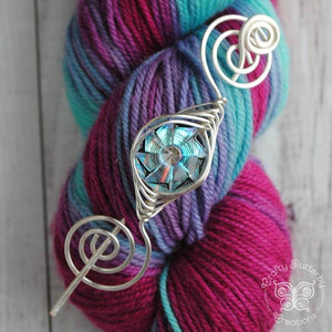 Shawl Pin, Sparkling Czech Glass Shawl Pin - Noteworthy Silver - Last Chance! - Crafty Flutterby Creations