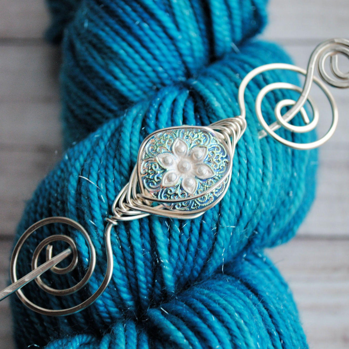 Starflower Shimmer Shawl Pin- Noteworthy Czech Glass-Shawl Pin-Crafty Flutterby Creations