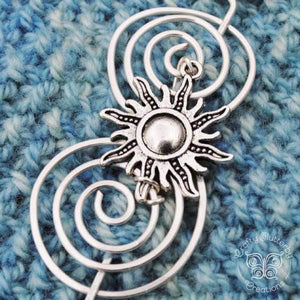 Shawl Pin, Sun Shawl Pin - Charmed Silver Inspirations - Crafty Flutterby Creations