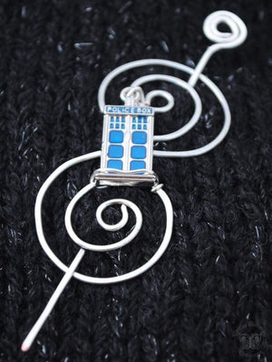 Shawl Pin, Tardis Shawl Pin - Charmed Silver Fandoms - Crafty Flutterby Creations