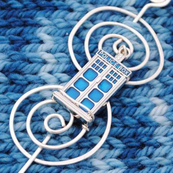 Tardis Shawl Pin - Charmed Silver Fandoms-Shawl Pin-Crafty Flutterby Creations