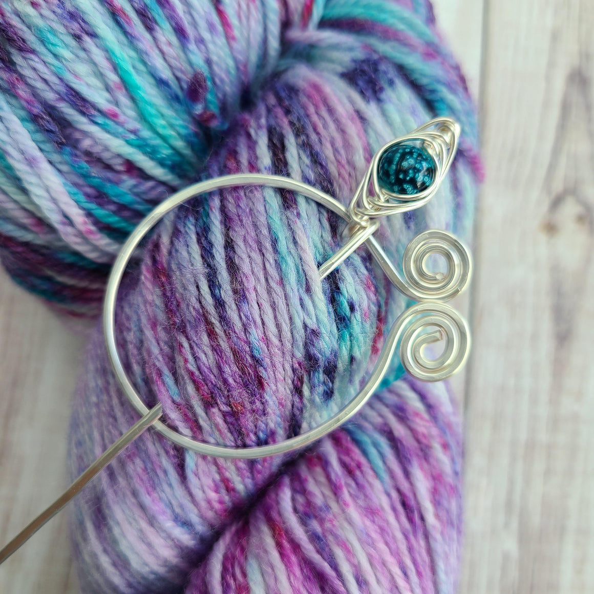 Teal Penannular Shawl Pin in Silver-Shawl Pin-Crafty Flutterby Creations
