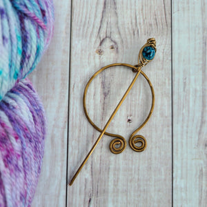 Teal Penannular Shawl Pin in Vintage Bronze-Shawl Pin-Crafty Flutterby Creations