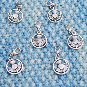 Useful Accessories, Thistle Progress Keepers, Stitch Markers or Zipper Pulls - Crafty Flutterby Creations