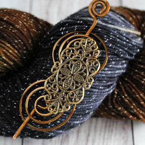 Shawl Pin, Victorian Lace Shawl Pin - Charmed Bronze - Crafty Flutterby Creations