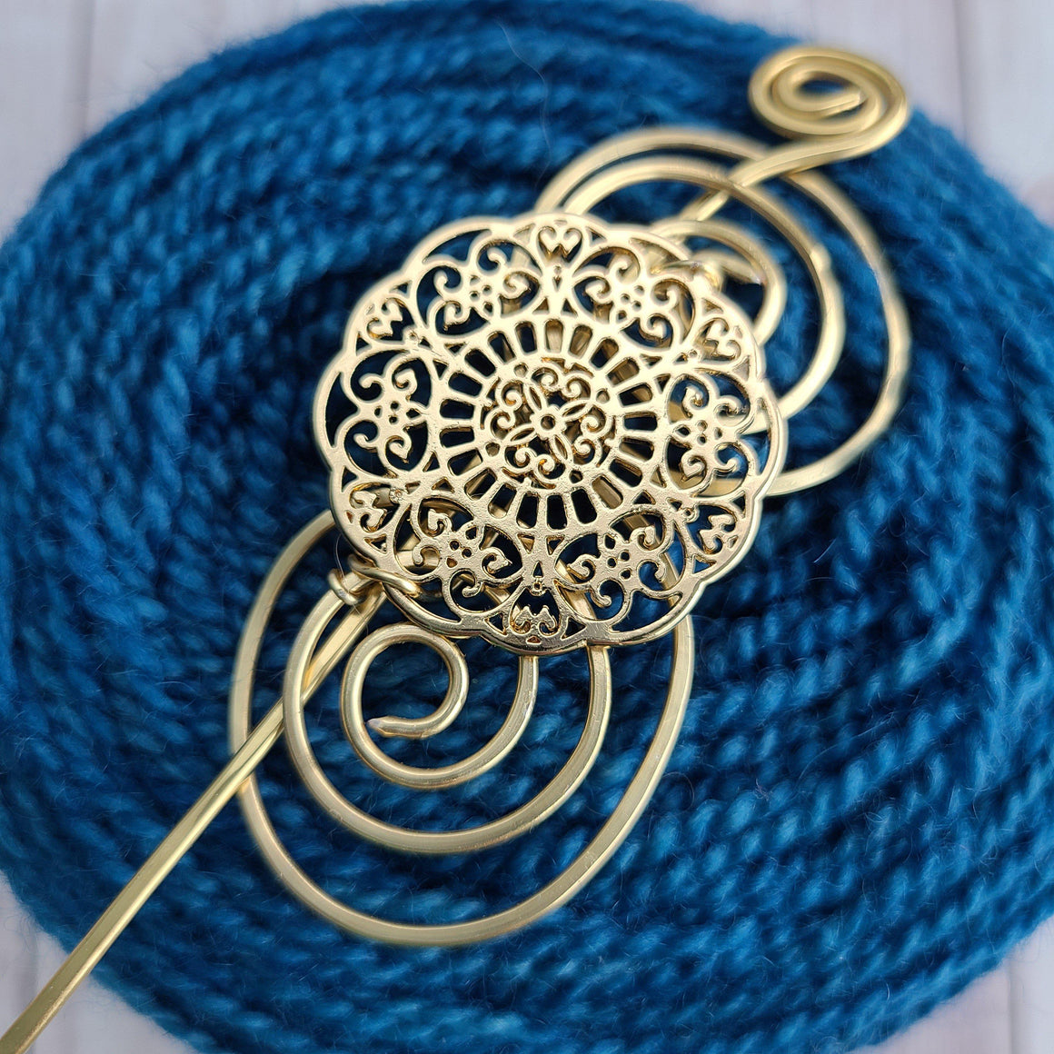 Victorian Lace Shawl Pin - Gold Charmed-Shawl Pin-Crafty Flutterby Creations
