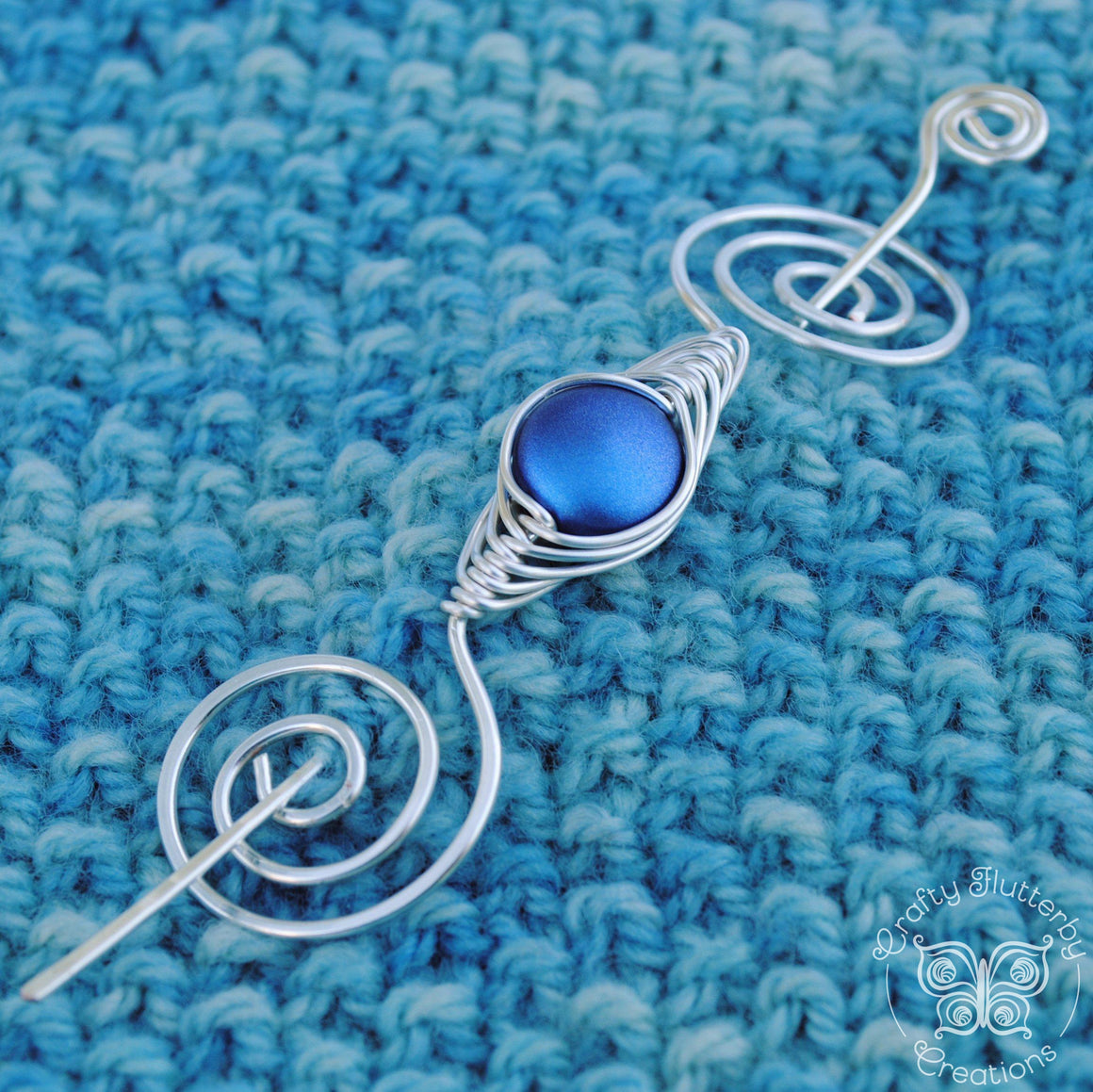 Shawl Pin, Violet Shimmer Shawl Pin - Noteworthy Classic Silver - Crafty Flutterby Creations