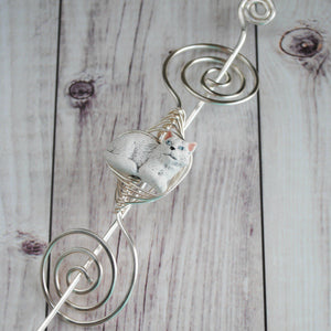 Shawl Pin, White Cat Shawl Pin - Large Silver - Crafty Flutterby Creations
