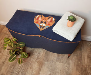 Lloyd Loom style Ottoman makeover with geometric copper heart design