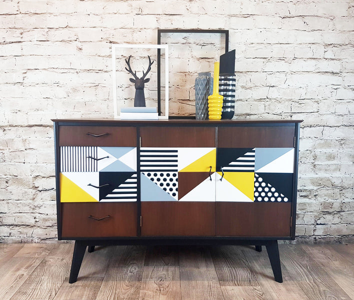 How to create a bold Geometric design sideboard - as featured in Reloved Magazine