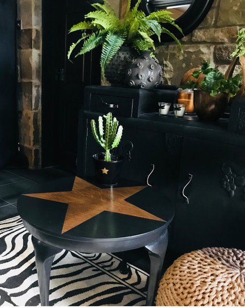 Black star upcycled vintage side table styled by Sally Worts