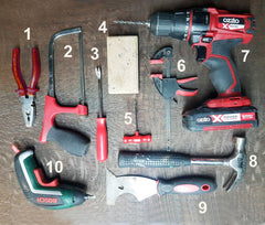 Top ten tools for Upcycling Vintage furniture with numbering