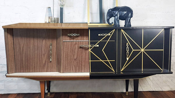 Before and after of a upcycling a sideboard