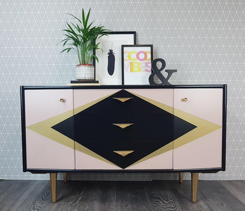 Pink gold and black upcycled vintage sideboard by Done up North