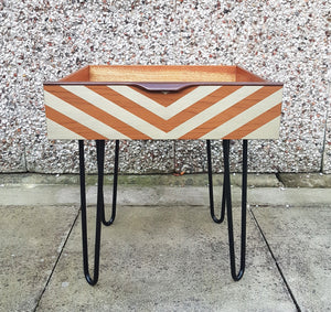 Mid Century Modern Vintage drawer side table on retro hairpin legs - Gold design