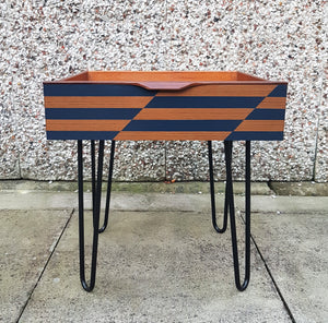 Mid Century Modern Vintage drawer side table on retro hairpin legs - Midnight Blue design
