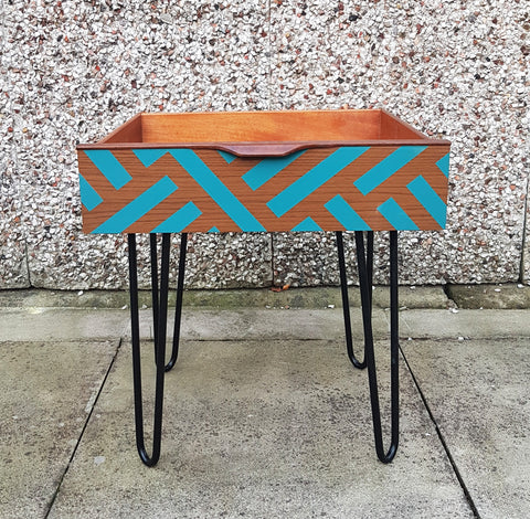 Mid Century Modern Vintage drawer side tables on retro hairpin legs - Teal design