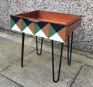Mid Century Modern Vintage drawer side tables on retro hairpin legs - Green cube design