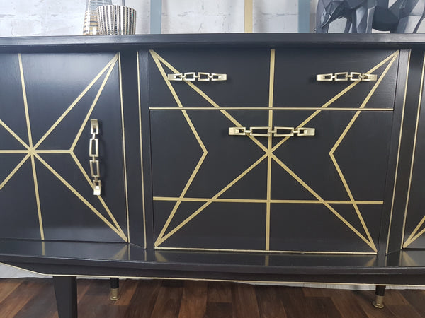 Grey & Fine Line Gold upcycled vintage sideboard
