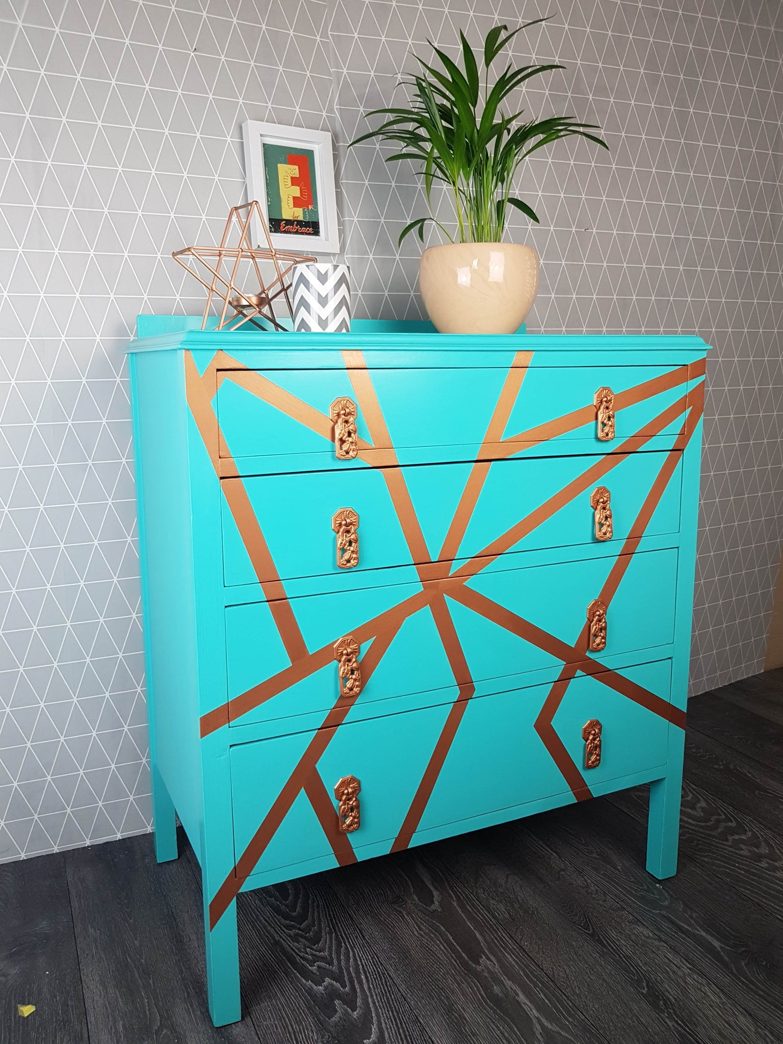 Azure and Copper chest of drawers commission