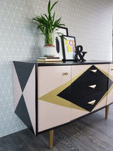 Blush pink, gold & black geometric re-designed Vintage sideboard