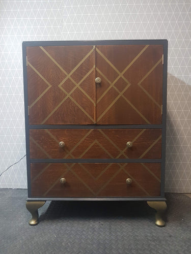Oak and Dark Grey Drinks cabinet with diamond design in Bronze
