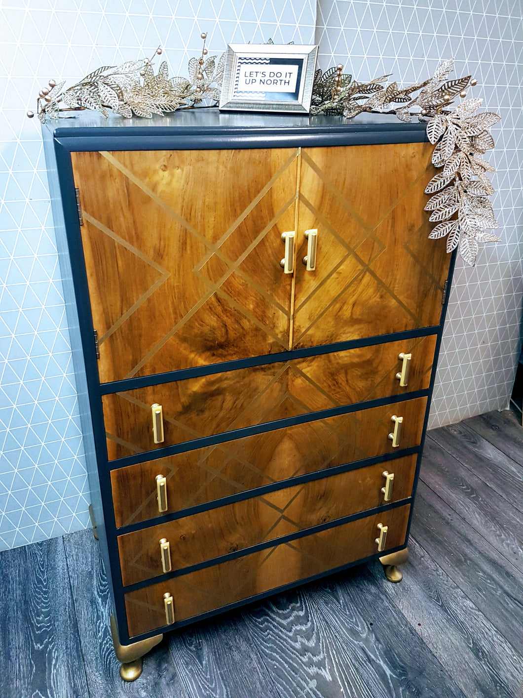Similar can be commissioned: Tallboy Drinks cabinet with gold geometric design
