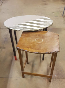 two side tables before they have been upcycled at workshop