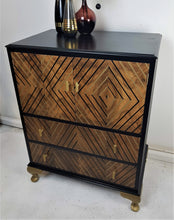Black and Gold Geometric Design / Art Deco style Vintage Drinks Cabinet
