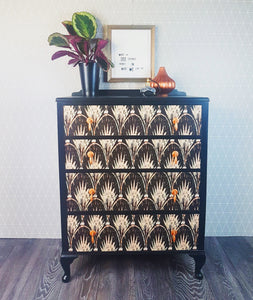 Vintage chest of drawers decoupaged with Anna Hayman Designs Pearl design paper