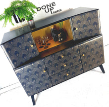 Vintage 1950s Beautility Cocktail Sideboard With Black & Gold Art Deco fan design