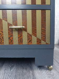 Similar can be commissioned: Grey & Bronze geometric design Drinks Cabinet