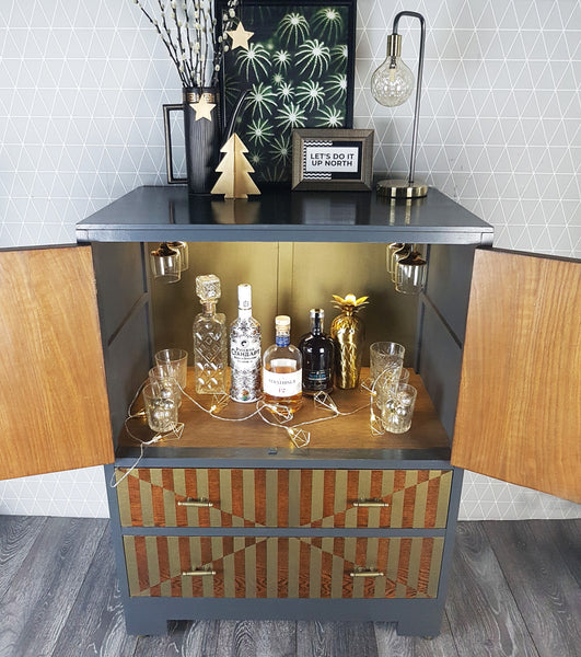 Dark Grey & Bronze Metallic geometric design Art Deco style Oak Drinks Cabinet