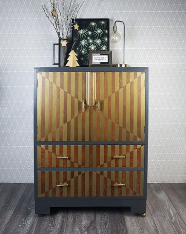 SOLD Dark Grey & Bronze Metallic geometric design Art Deco style Oak Drinks Cabinet