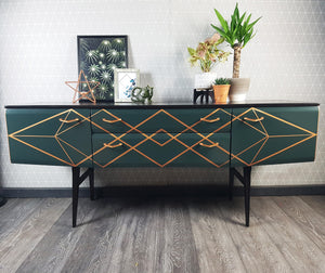 Upcycled MCM sideboard with Copper geometric design